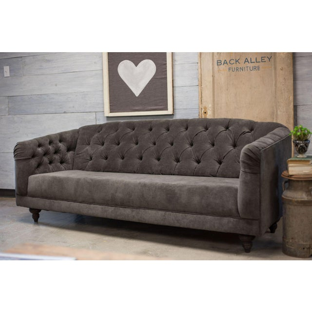 Charcoal Tufted Vintage Sofa - Image 4 of 10