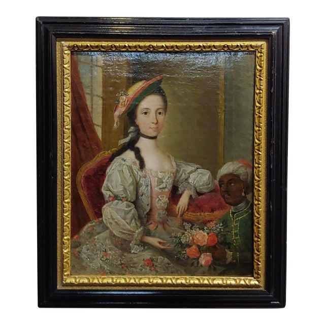 """18th Century """"Aristocratic Lady & Her Black Slave"""" Oil Painting by Friedrich Ludwig Hauck For Sale"""
