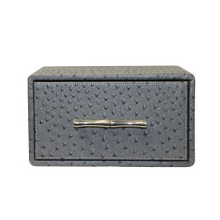 Oriental Handle Hardware Gray Rectangular Container Box Small For Sale