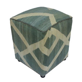 Arshs Daniela Gray/Ivory Kilim Upholstered Handmade Ottoman For Sale