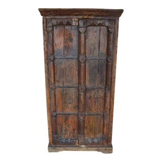 Indian Hand-Carved Wood Cabinet with Three Shelves with Floral Motifs