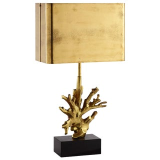 Mid-Century Maison Charles French Bronze Black Marble Coral Table Lamp For Sale