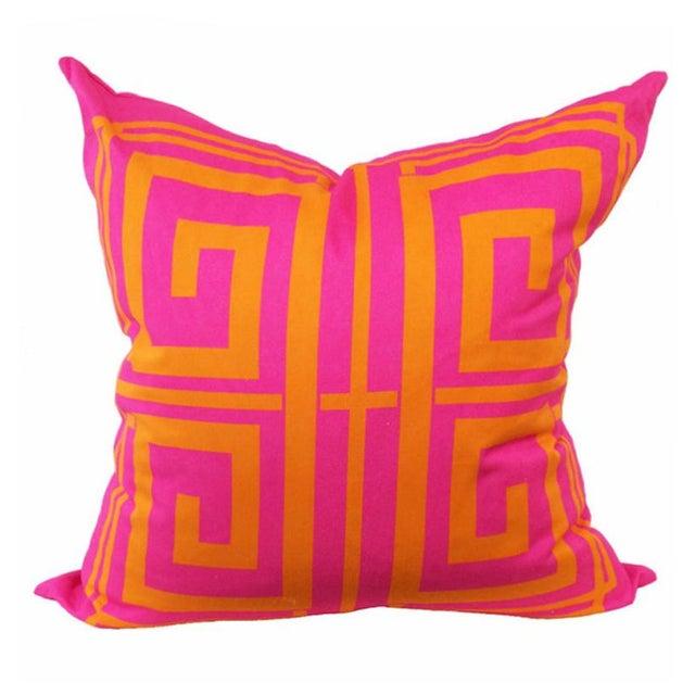 Greek Key Magenta Pillow Covers - Image 2 of 2