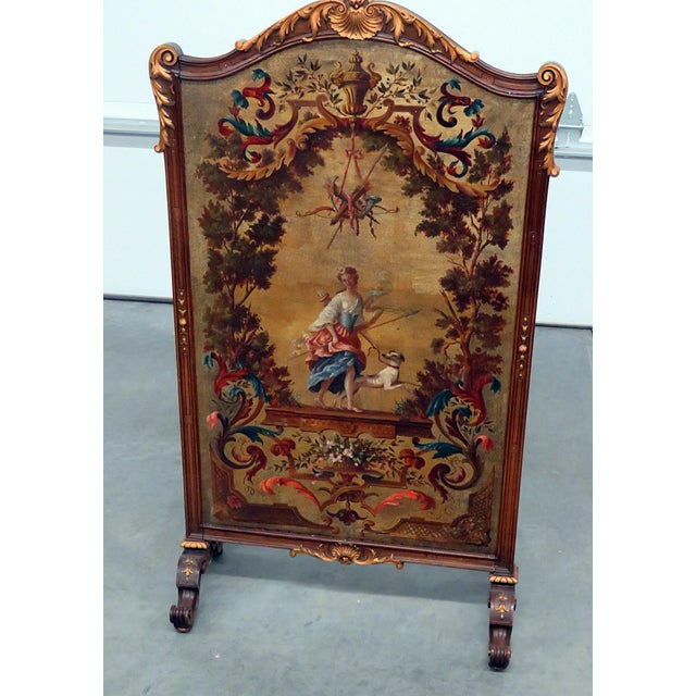 Paint Regency Style Oil Painted Screen For Sale - Image 7 of 7