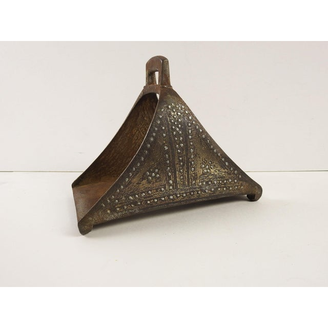 Offered is a virca 1800s antique hand forged iron Turkish Ottoman single stirrup. Inlaid with brass and silver on both...
