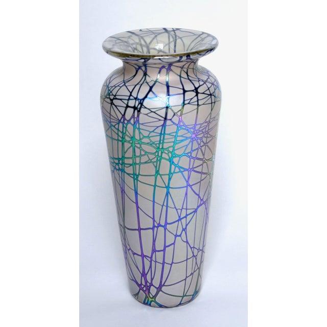 A gorgeous large Stuart Abelman Studio glass iridescent vase. Inscibed on bottom: Abelman VC3667 25 1997 Stuart Abelman an...