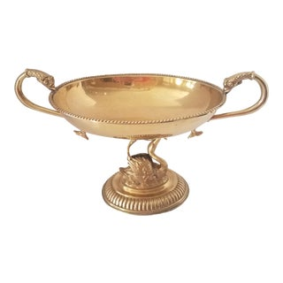 Vintage Brass Swan Base Serpent Handles Compote Bowl For Sale