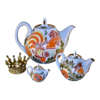 1980s Soviet Union Porcelain Teapots Set - 3 Piece Set For Sale