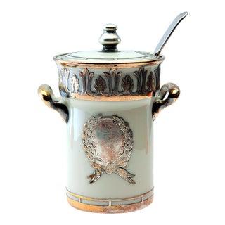 Vintage Lenox Porcelain & Silver Jam Jar W/Serving Spoon- 2 Pieces For Sale