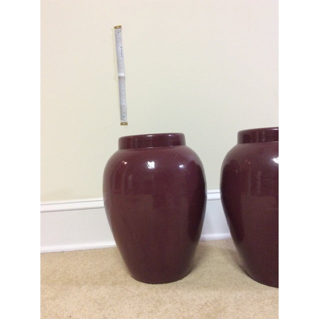 Decorative Maroon Urns - A Pair - Image 7 of 7