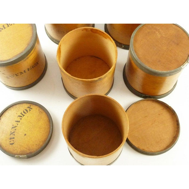 Antique Wood Spice Boxes Set of Six Containers Manufactured by Patent Package Co Allspice Cinnamon Ginger For Sale - Image 9 of 11