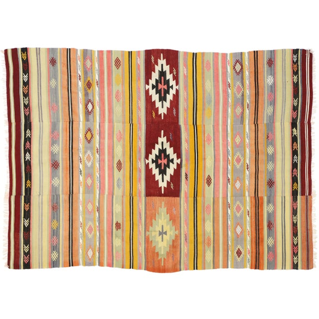 Vintage Mid-Century Southwestern Inspired Turkish Kilim Rug - 5′7″ × 7′8″ For Sale In Dallas - Image 6 of 9
