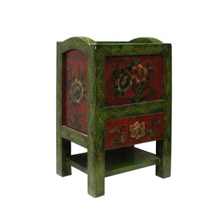 Asian Tibetan Style Handmade Green Red Floral Paint Storage Box Tray Preview