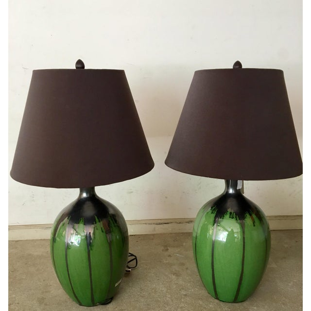 Green Flambe Pottery Lamps - a Pair - Image 2 of 4