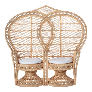 Double Peacock Chair W/ Ivory Cushion For Sale