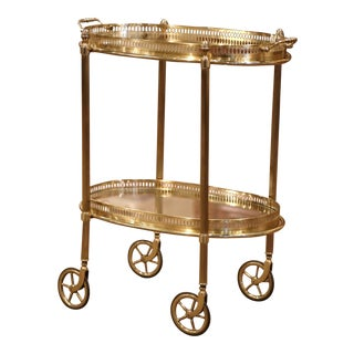 Early 20th Century, French Polished Brass Dessert Table or Bar Cart on Wheels For Sale