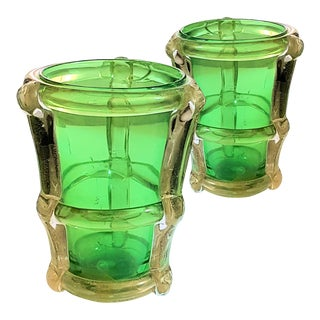 Large Murano thick green/gold glass mid century modern pair of vases, attr to Barbini