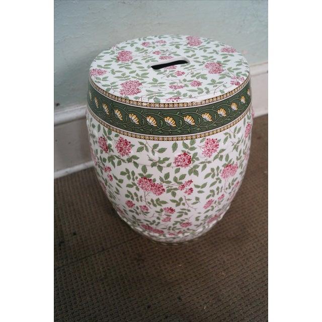 Vintage Floral Pattern Pottery Garden Seat - Image 6 of 10