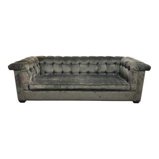 Contemporary Rene Cazares Margo Pewter Velvet Sofa