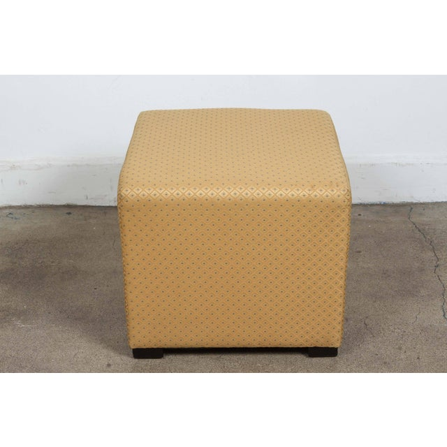 Pair of Gold Cube Upholstered Moroccan Ottomans, Poufs For Sale In Los Angeles - Image 6 of 9
