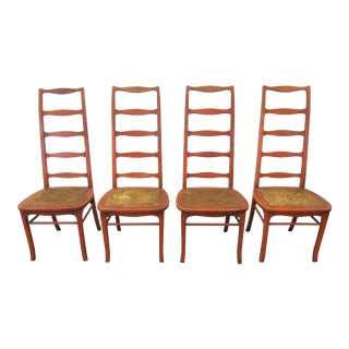 Mid Century Thomasville Tall Ladder Back Chairs- Set of 4 For Sale