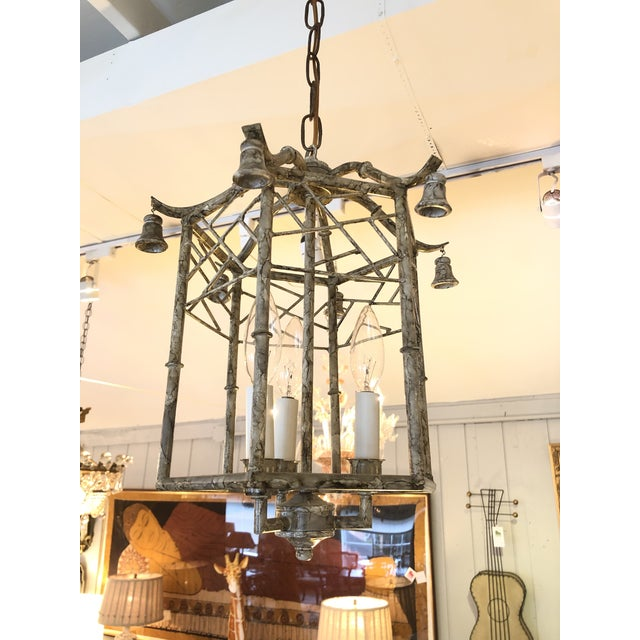 Pagoda Style Iron & Tole Lantern Pendant Chandelier For Sale - Image 9 of 9