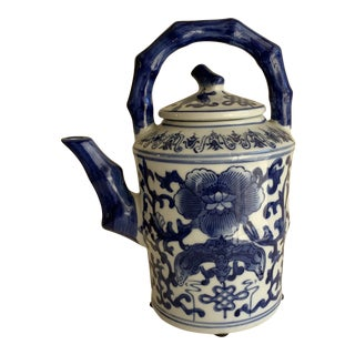 Elegant Asian Blue & White Lotus Flower Teapot For Sale