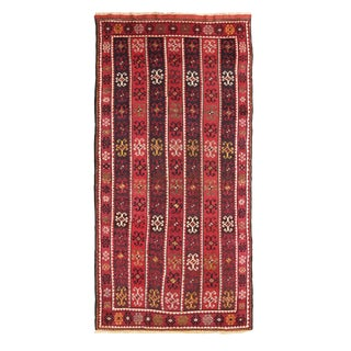 Antique Sivas Geometric Vermillion and Burgundy Red Wool Rug 4′4″ × 8′8″ For Sale