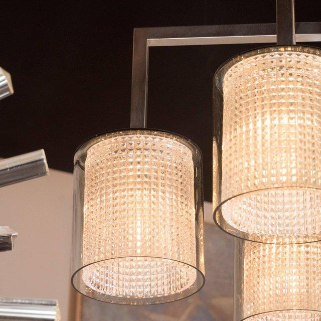 Scandinavian Mid-Century Modern Four-Arm Chandelier, Carl Fagerlund for Orrefors For Sale - Image 9 of 11