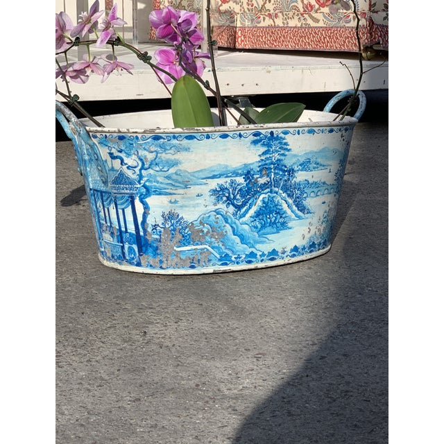 Blue Tole French Style Chinoiserie Planter For Sale - Image 9 of 11