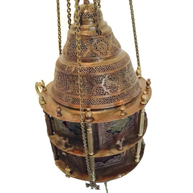 Antique Turkish Pierced Brass Pendant Lamp - Image 6 of 10