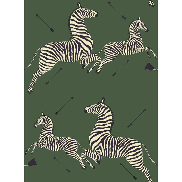 Transitional Red by Scalamandre Peel & Stick Wallpaper, Zebras, Serengeti Green For Sale - Image 3 of 3