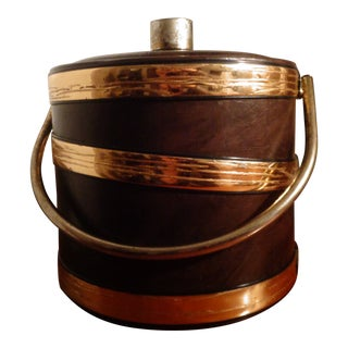 1960s Charleston Brown With Gold Trim Ice Bucket For Sale
