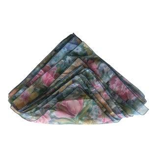 1980s Floral Sheer Cloth Napkins - Set of 9 For Sale