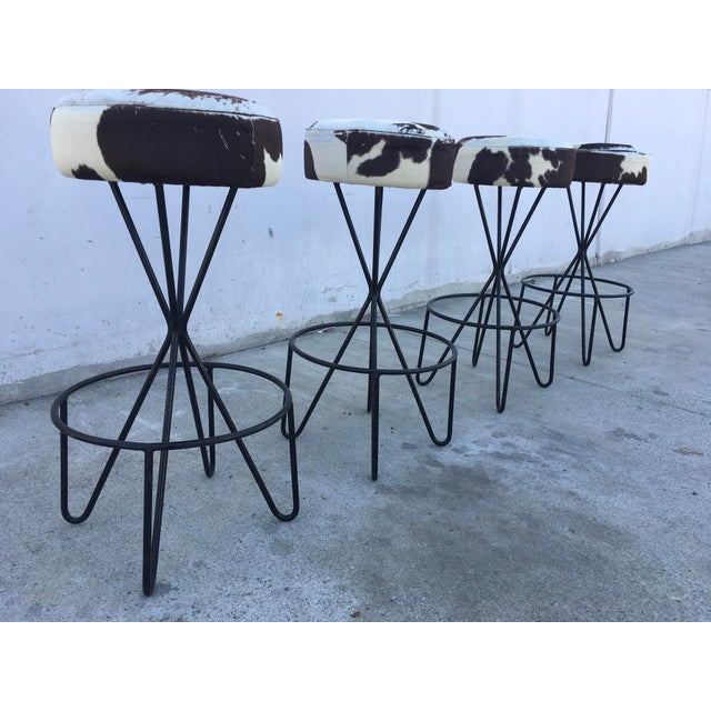 Mid-Century Modern 1950s Vintage Paul Tuttle Iron Bar Stools - Set of 4 For Sale - Image 3 of 13