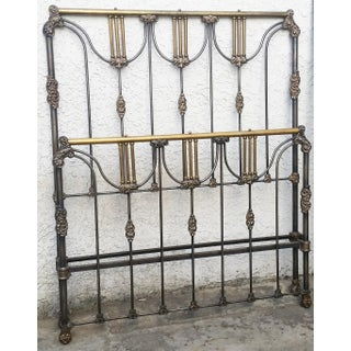 Antique French Tall Cast Iron & Brass Queen or Full Size Bedframe Preview