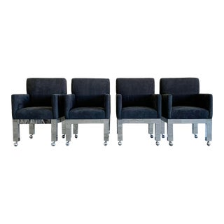 1970s Chrome Cityscape Chairs by Paul Evans for Directional - Set of 4 For Sale