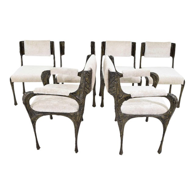 Set of Six Paul Evans Brutalist Sculpted Bronze and Resin Dining Chairs, 1972 For Sale