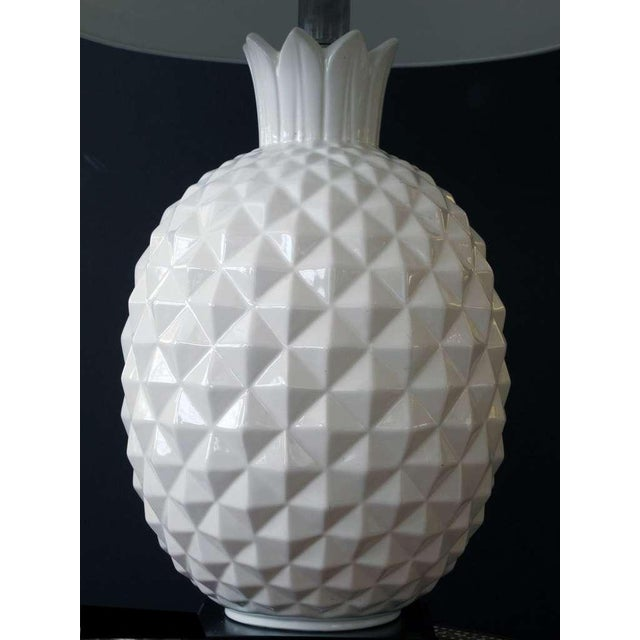 Mid-Century Modern A Robust and Large-Scaled Pair of Italian 1960's White Ceramic Pineapple-Form Lamps For Sale - Image 3 of 6