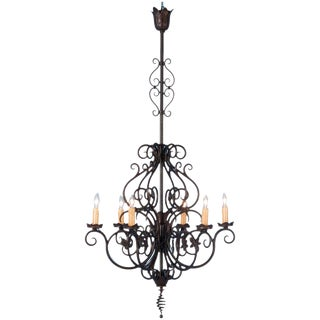 Early 20th Century Antique French Six Light Wrought Iron Chandelier For Sale