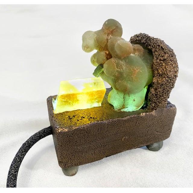 "Abstract Light Sculpture: Sea Sponge Series ""Tardigrade"" Lamp, Gems, Bronze For Sale - Image 3 of 4"
