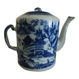 Antique Canton Chinese Export Coffee Pot For Sale