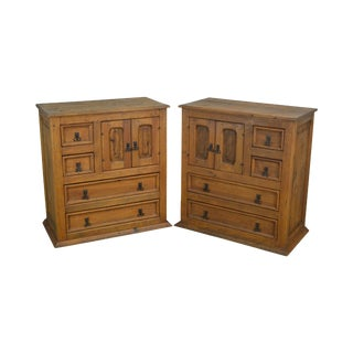 Rustic Mexican Pine Pair Tall Bed Side Chests Nightstands For Sale