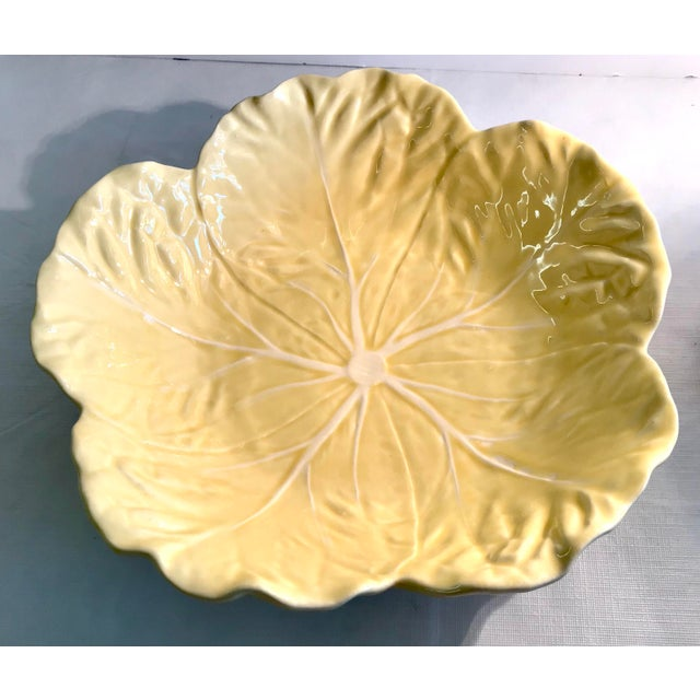 Yellow 20th Century Cottage Majolica Yellow Cabbage Serving Bowl For Sale - Image 8 of 8