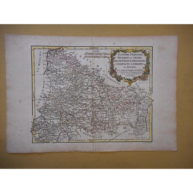 Realism 18th C. Antique French Map-Champagne, Lorainne & Alsace For Sale - Image 3 of 3