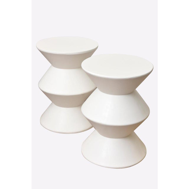 These amazing and rare modernist sculptural tiered white vintage Sirmos plaster of paris de tables are beyond chic! They...