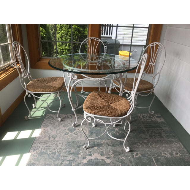 White 1950s French Country Wrought Iron Dining Set - 5 Pieces For Sale - Image 8 of 10