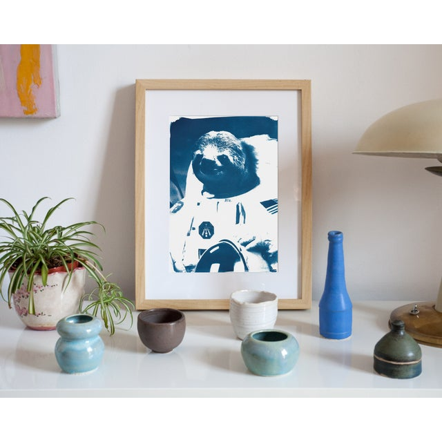 Contemporary Limited Edition Cyanotype Print- Astronaut Sloth Meme For Sale - Image 3 of 4