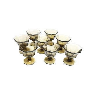 Vintage Independence Glassware Mid Century Smoke Colored Glass Goblets - Set of 8 For Sale