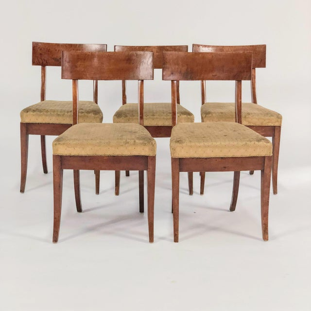 A set of five early 19th century birch Klismos style dining chairs, featuring curved backrest and tapered legs with yellow...